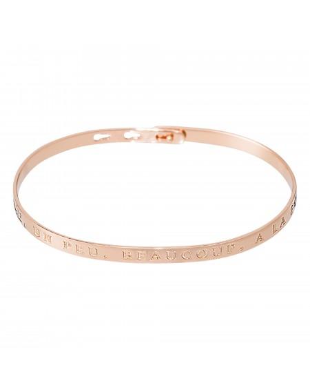 """Bracelet à message """"JE T'AIME, UN PEU, BEAUCOUP, A LA FOLIE"""" rosé"""