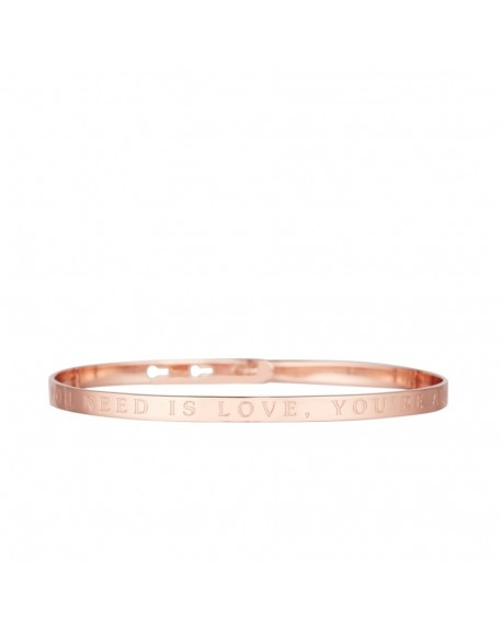 """Bracelet à message """"ALL YOU NEED IS LOVE, YOU'RE ALL I NEED"""" rosé"""