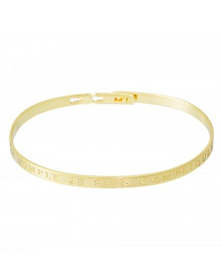 """Bracelet à message """"C'EST SIMPLE JE SUIS COMPLIQUEE"""" doré"""